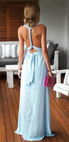 My One And Only Light Blue Sleeveless Halter Adjustable Convertible Maxi Dress - Sold Out