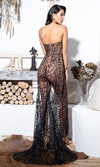Gazing At The Moon Nude Black Glitter Geometric Pattern Strapless Sweetheart Neck Sheer Mesh High Slit Maxi Dress