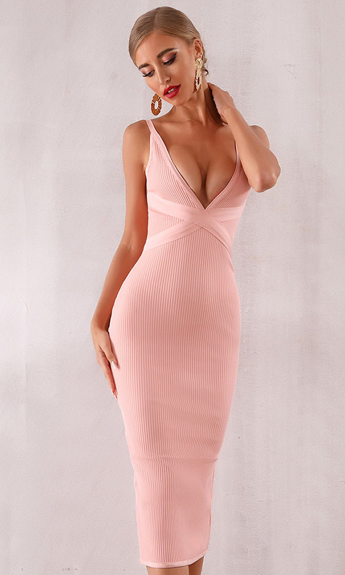 Evening Sunset Pink Sleeveless Plunge V Neck Bodycon Bandage Maxi Dress