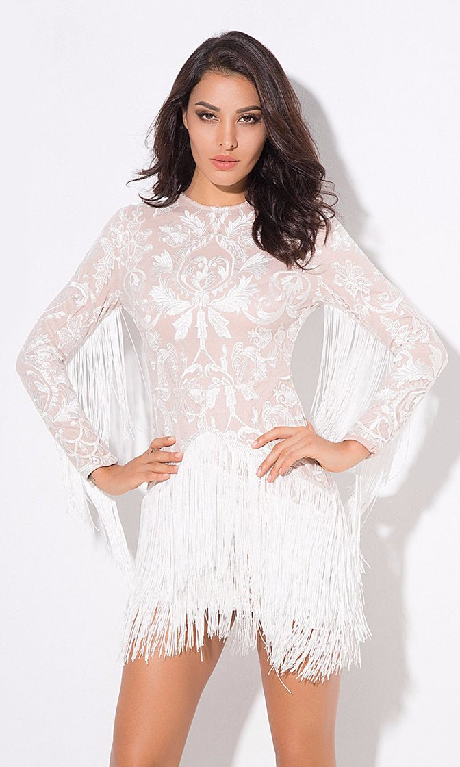 Angel On Earth White Nude Lace Embroidery Fringe Long Sleeve Round Neck Mini Dress