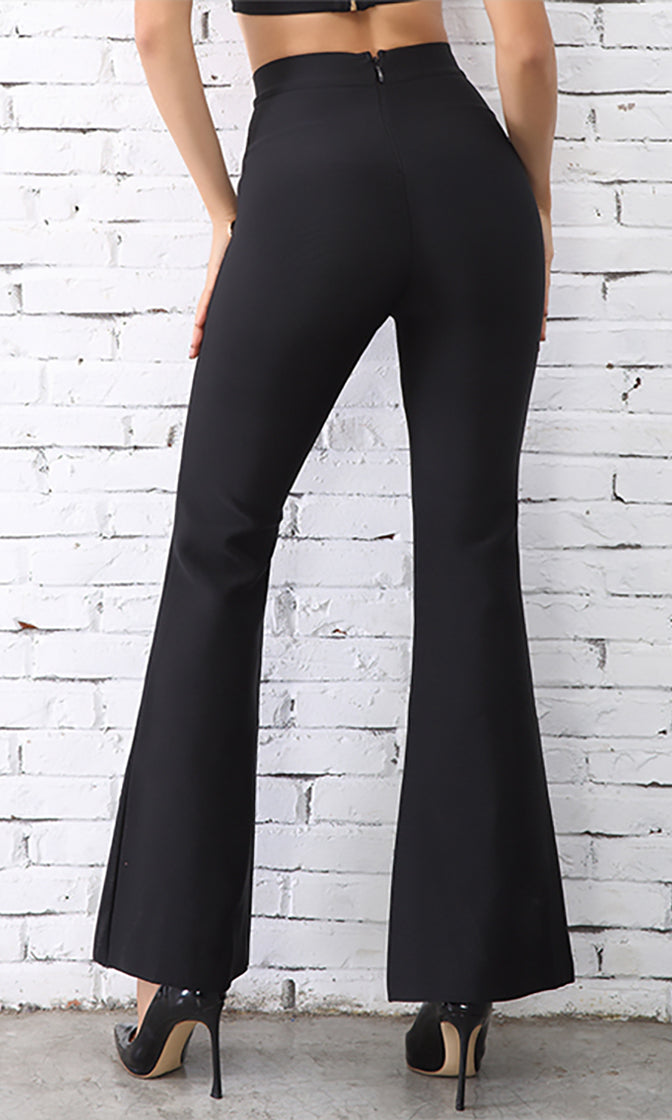 Money Moves Gold Button High Waist Flare Leg Loose Pants - 3 Colors Available