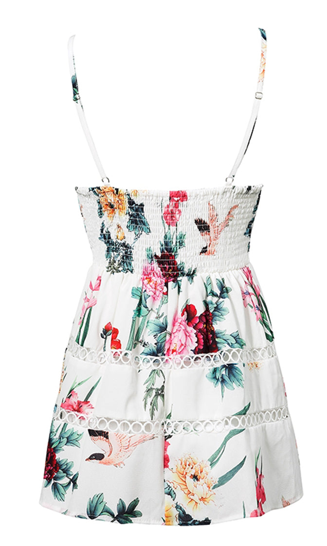 Give Me Flowers White Floral Pattern Sleeveless Spaghetti Strap V Neck Smocked A Line Casual Mini Dress
