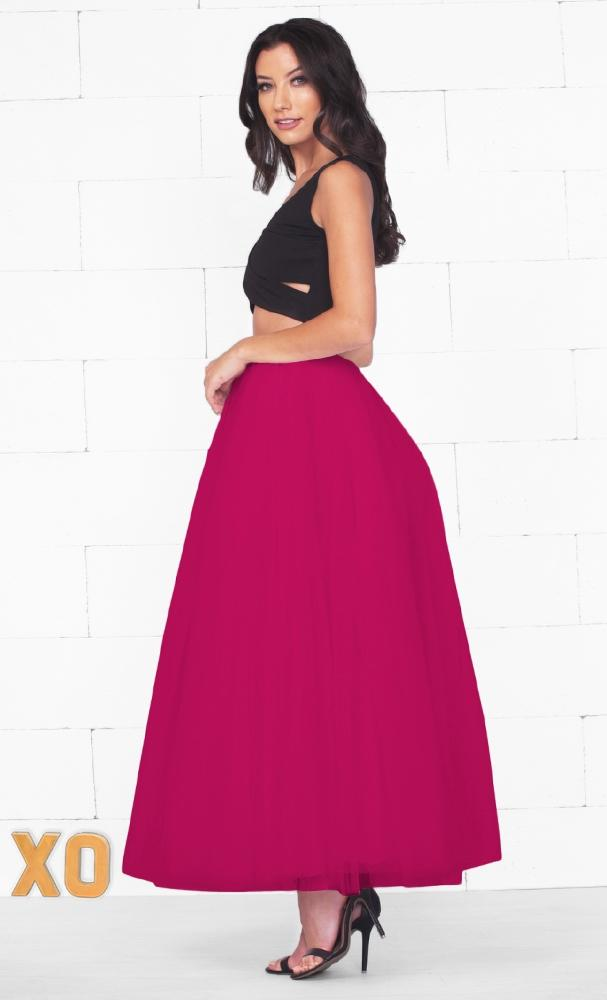 Do A Twirl 7 Layer Fuchsia Pink Pleated Elastic Waist Swiss Tulle Ball Gown Maxi Skirt