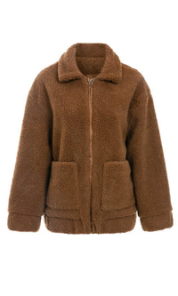 For Your Pleasure Teddy Faux Fur Long Sleeve Zip Front Coat Outerwear - 3 Colors Available - Sold Out