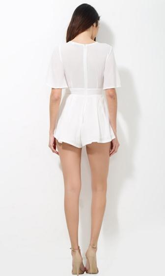 My Wild Heart White Short Trumpet Sleeve Plunge V Neck Tie Waist Romper Playsuit - Sold Out