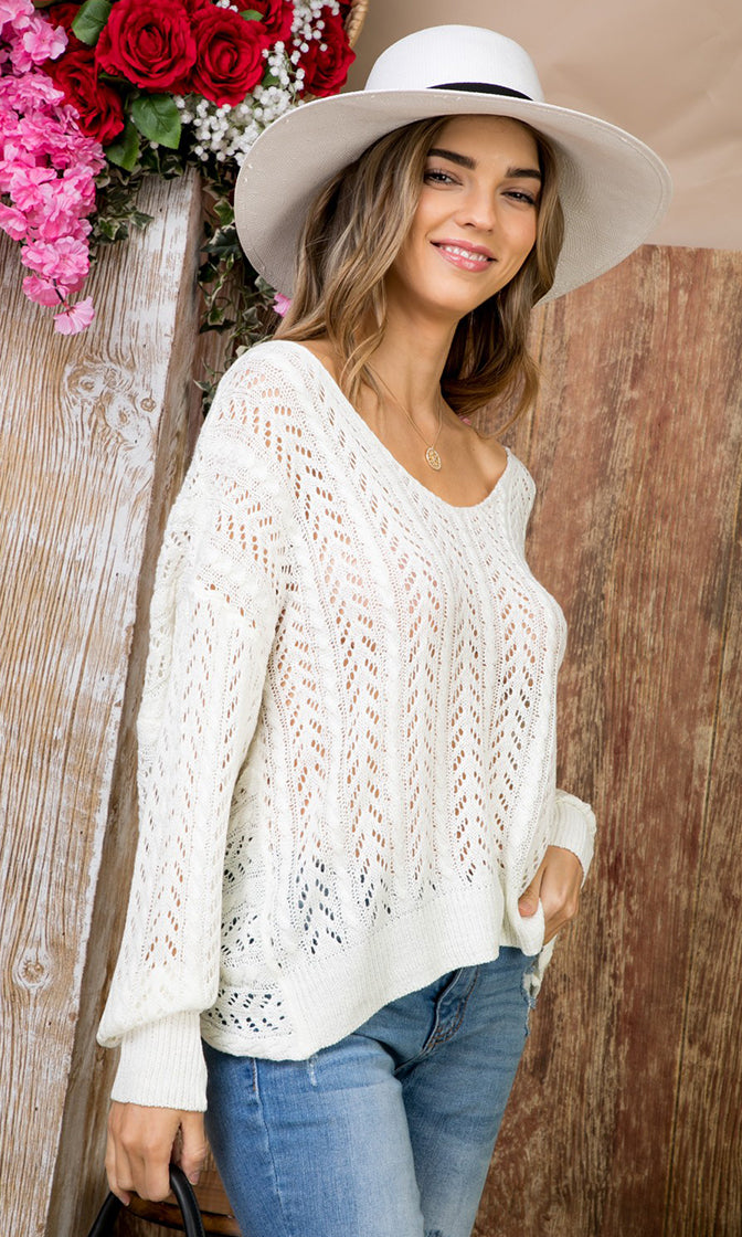 Wish On A Star White Pointelle Long Sleeve V Neck Twist Knot Back Pullover Sweater