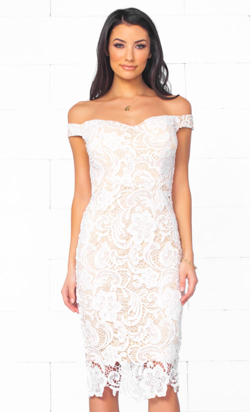 Indie XO At Last White Beige Lace Off The Shoulder Sweetheart Neck Bodycon Midi Dress - Just Ours!