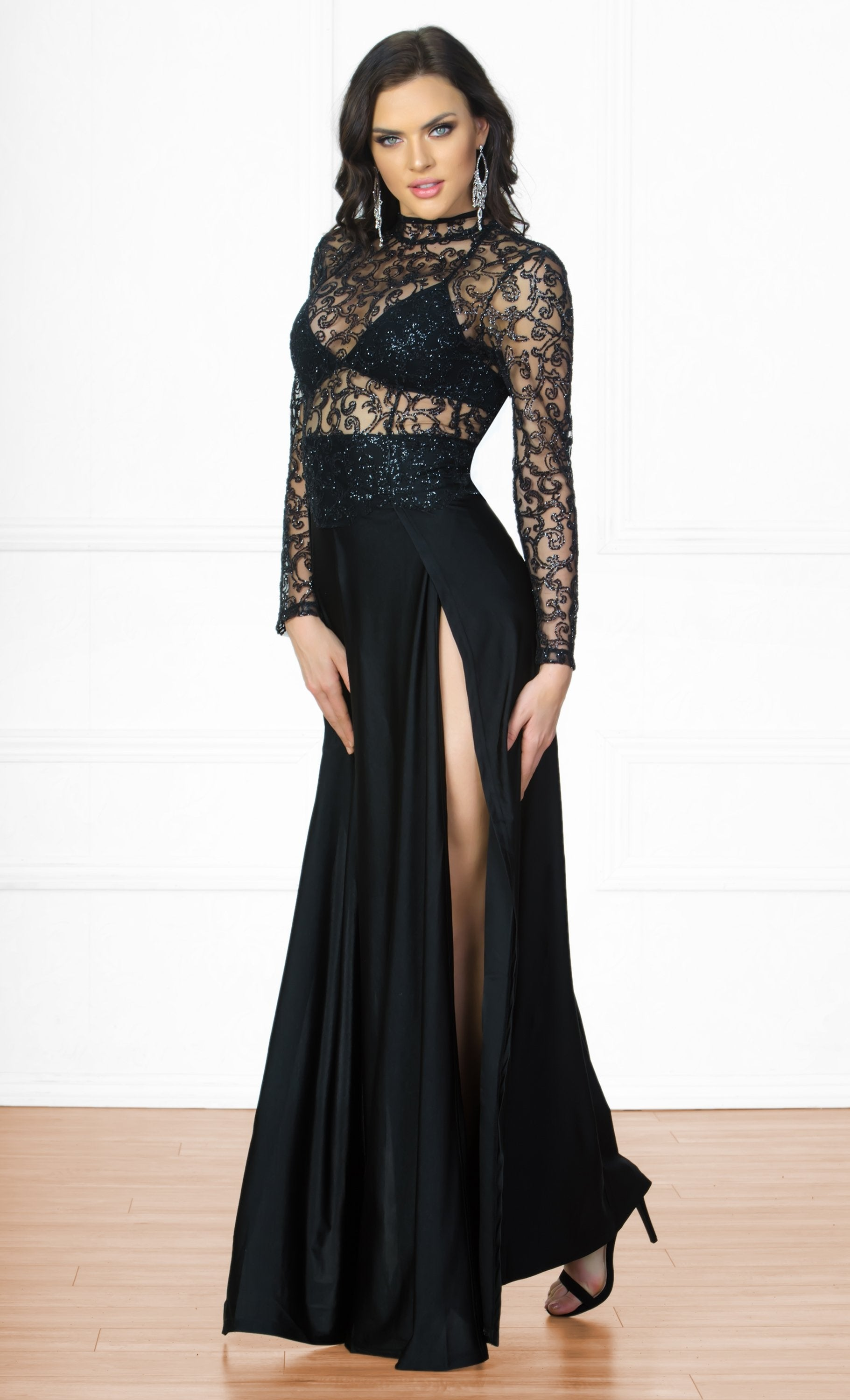 f712b5bfd54 High Drama Black Glitter Sheer Mesh Long Sleeve Mock Neck Cut Out Back  Double Slit Maxi