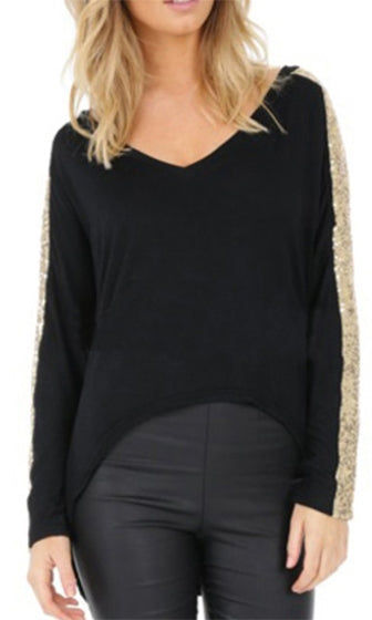 Planet Rock Black Gold Long Batwing Sleeve V Neck Asymmetric High Low Shirt  - Sold Out