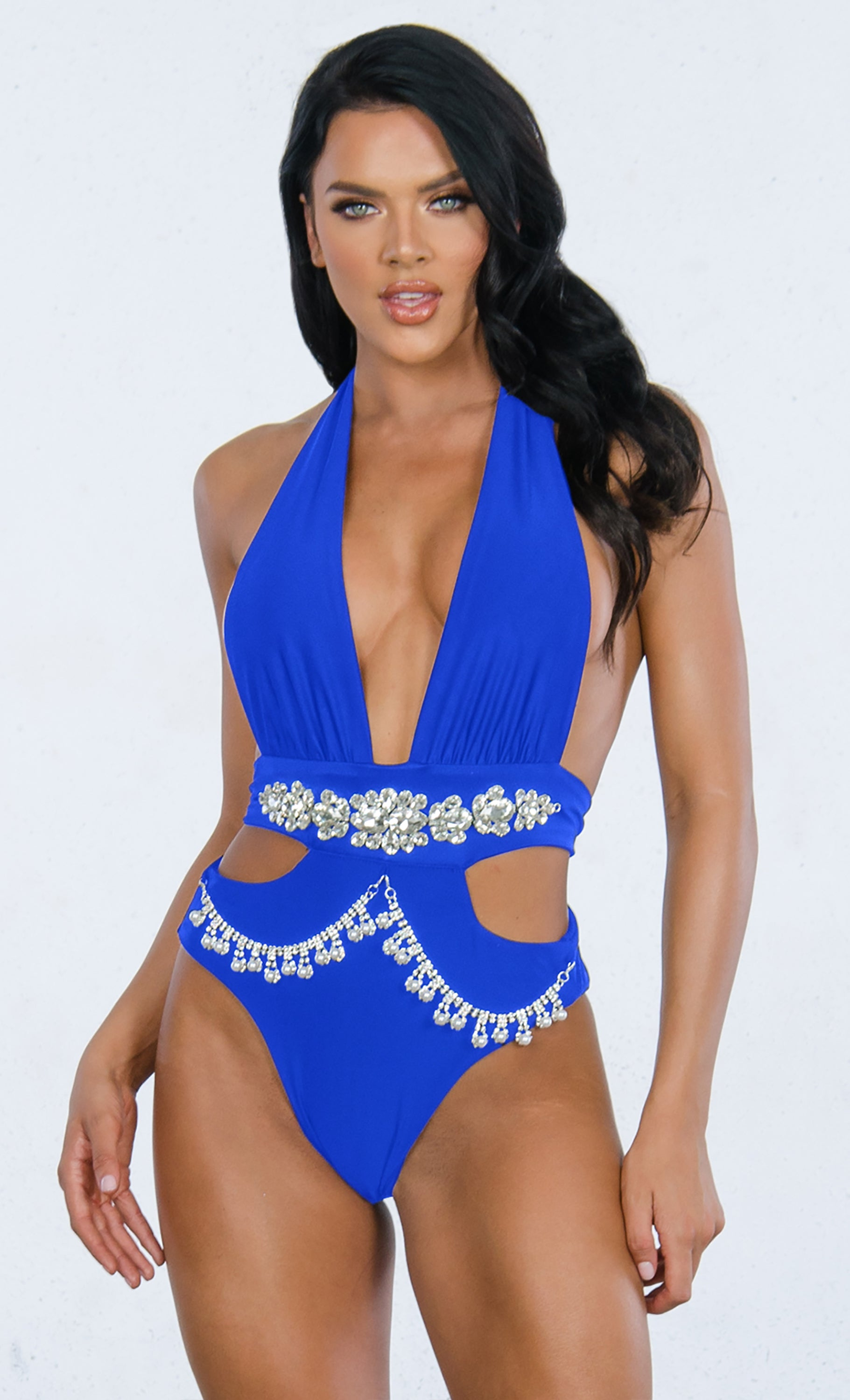 c2d7af1f0ad95 Indie XO Shake It Off Royal Blue Rhinestone Beaded Bling Crystal Chain Cut  Out Gemstone Plunge