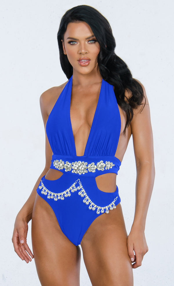 a84405f5a7 Indie XO Shake It Off Royal Blue Rhinestone Beaded Bling Crystal Chain Cut  Out Gemstone Plunge