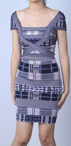 Patch Things Up Blue Beige Grey Jacquard Plaid Geometric Cap Sleeve Square Neck Bodycon Bandage Mini Dress - Sold out