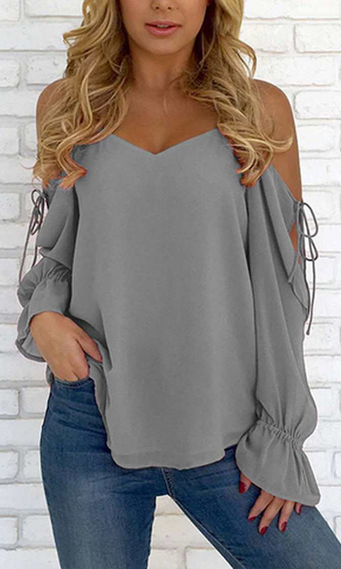 Easy Street Spaghetti Strap Long Slit Sleeve Cold Shoulder V Neck Chiffon Blouse Top - 4 Colors Available - Sold Out