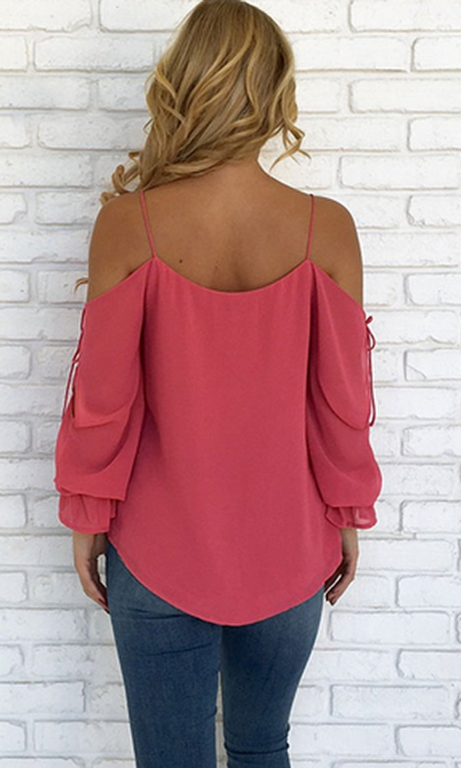 Easy Street Spaghetti Strap Long Slit Sleeve Cold Shoulder V Neck Chiffon Blouse Top - 4 Colors Available
