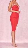 Careless And Free Red Sleeveless Spaghetti Strap Bustier Cut Out Bodycon Bandage Midi Dress - Sold Out