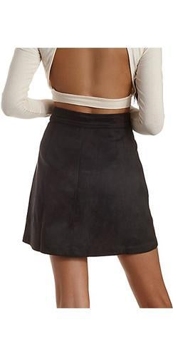 So Groovy Black Faux Suede Button A Line Pocket Mini Skirt - Sold Out