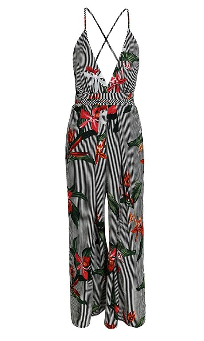 Something Special Black White Stripe Floral Pattern Sleeveless Spaghetti Strap Split Loose Wide Leg Jumpsuit