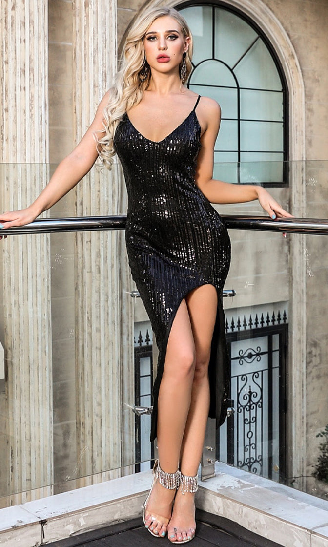 Head To Head Black Sequin Sleeveless Spaghetti Strap V Neck High Slit Bodycon Midi Dress