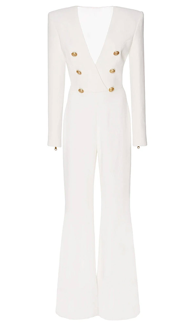 Stay Strong White Long Zip Sleeve Cross Wrap V Neck Gold Button Flare Wide Leg Jumpsuit