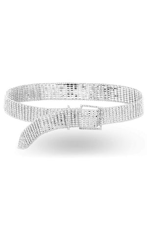 Cause Some Drama Silver Rhinestone Crystal Metal Bling Buckle Waist Belt