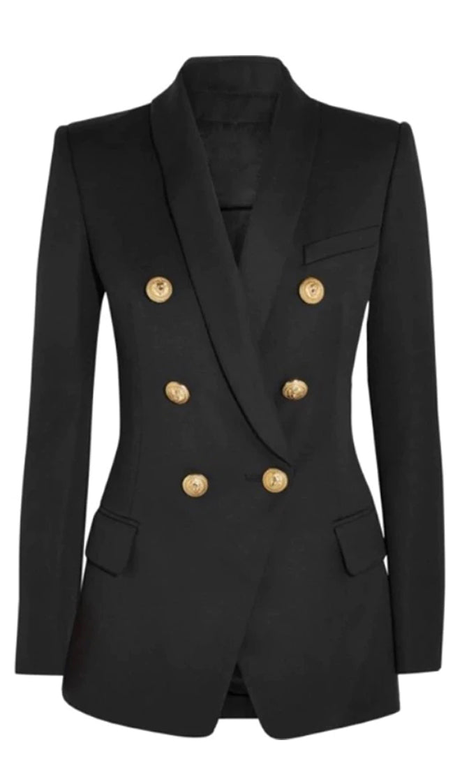 Climbing The Ladder Long Sleeve Double Breasted Gold Button Blazer Jacket Outerwear - Sold Out