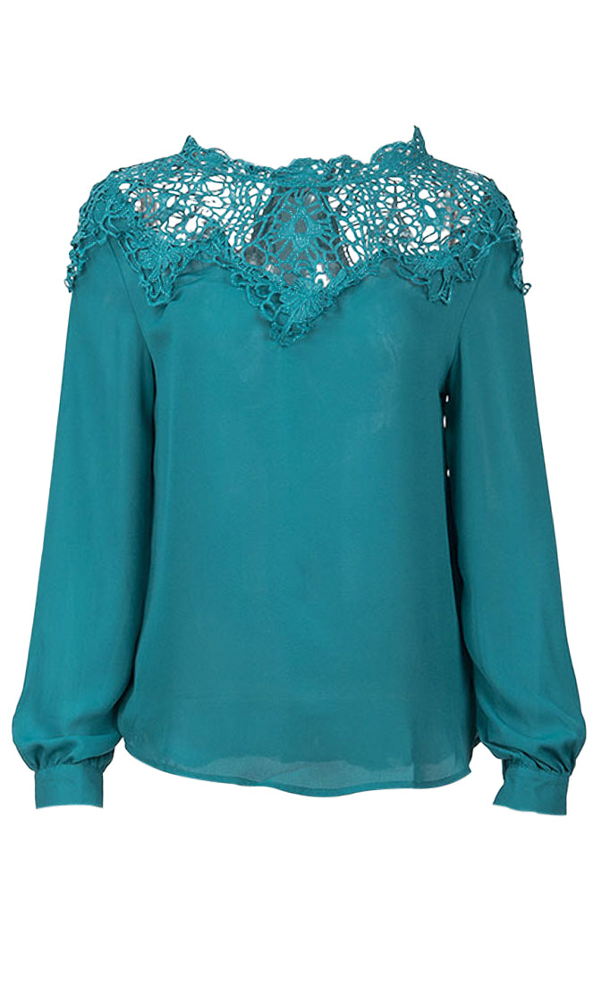Without A Worry Long Sleeve Sheer Lace Mock Neck Blouse Top - 4 Colors Available - Sold Out