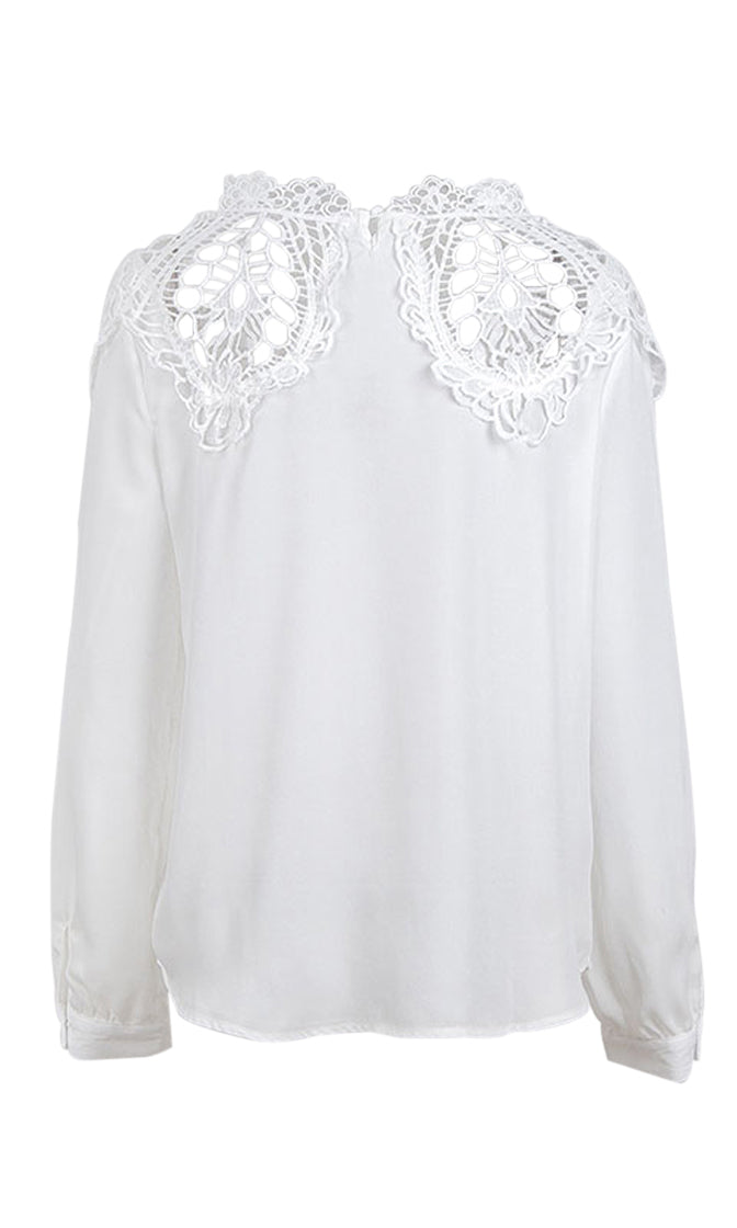 Without A Worry Long Sleeve Sheer Lace Mock Neck Blouse Top - 4 Colors Available