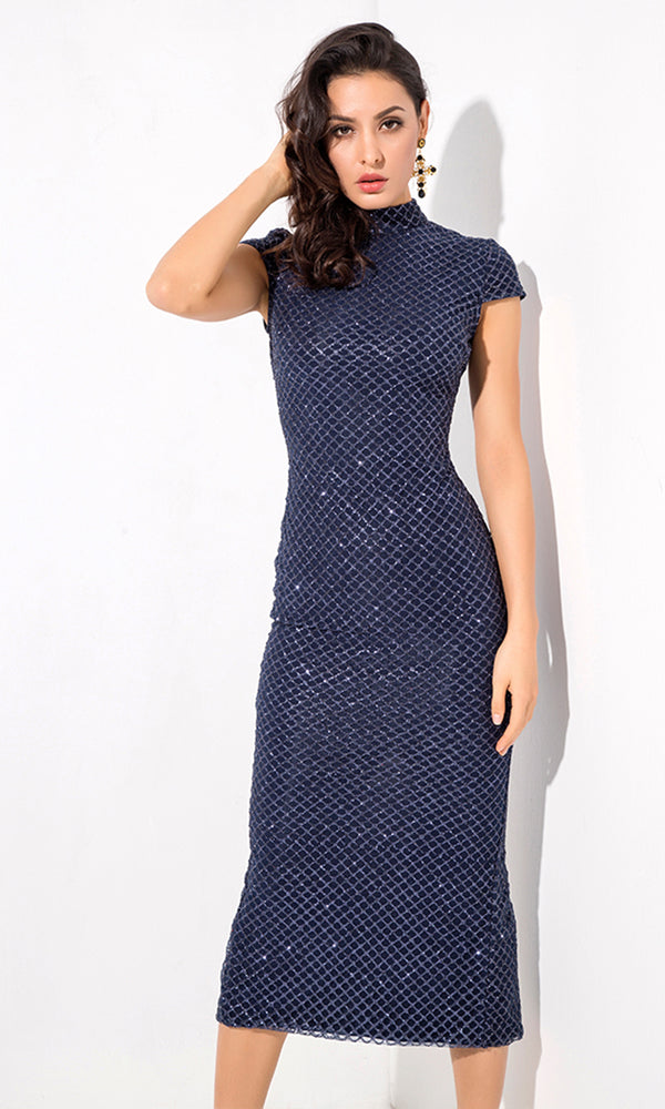 4cff9e0571ee Chic Moment Navy Glitter Geometric Pattern Cap Sleeve Mock Neck Bodycon Midi  Dress