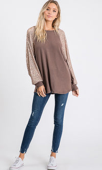 Daytime Glitz Long Sleeve Sequin Round Neck Batwing Raglan Pullover Sweater - Sold Out