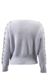 She's In Control Long Sleeve V Neck Lace Up Crop Pullover Sweater - 4 Colors Available