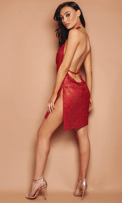 You Adore Me Red Rhinestone Metal Sleeveless Backless V Neck Halter Cut Out Mini Dress