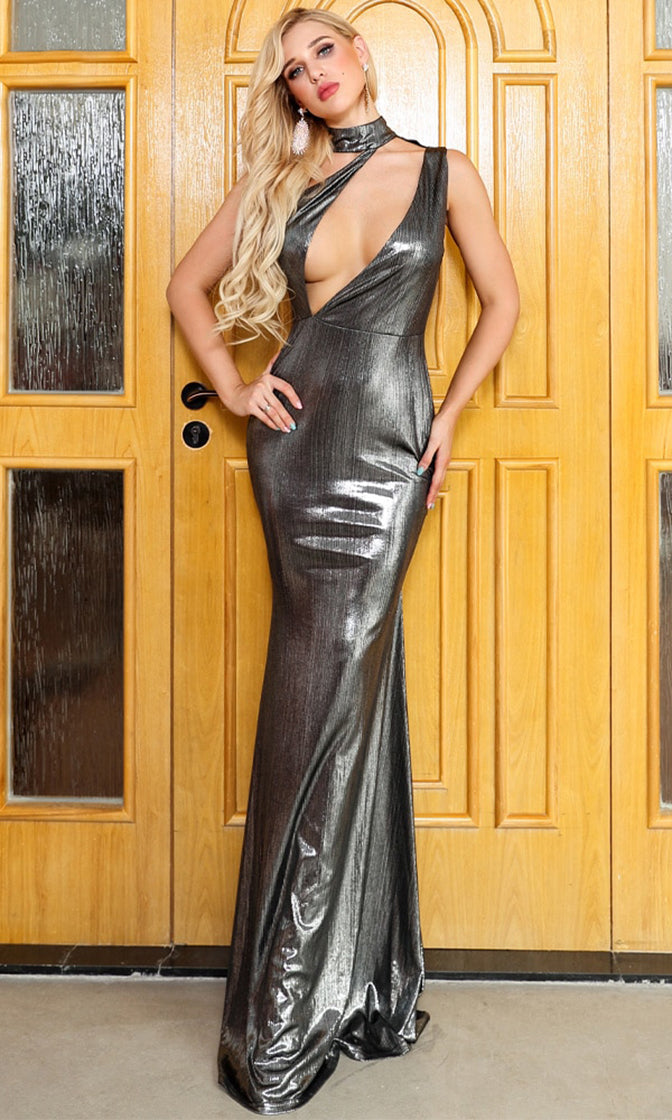 Making It Matter Silver Metallic Sleeveless One Shoulder Mock Neck Cut Out Plunge Maxi Dress