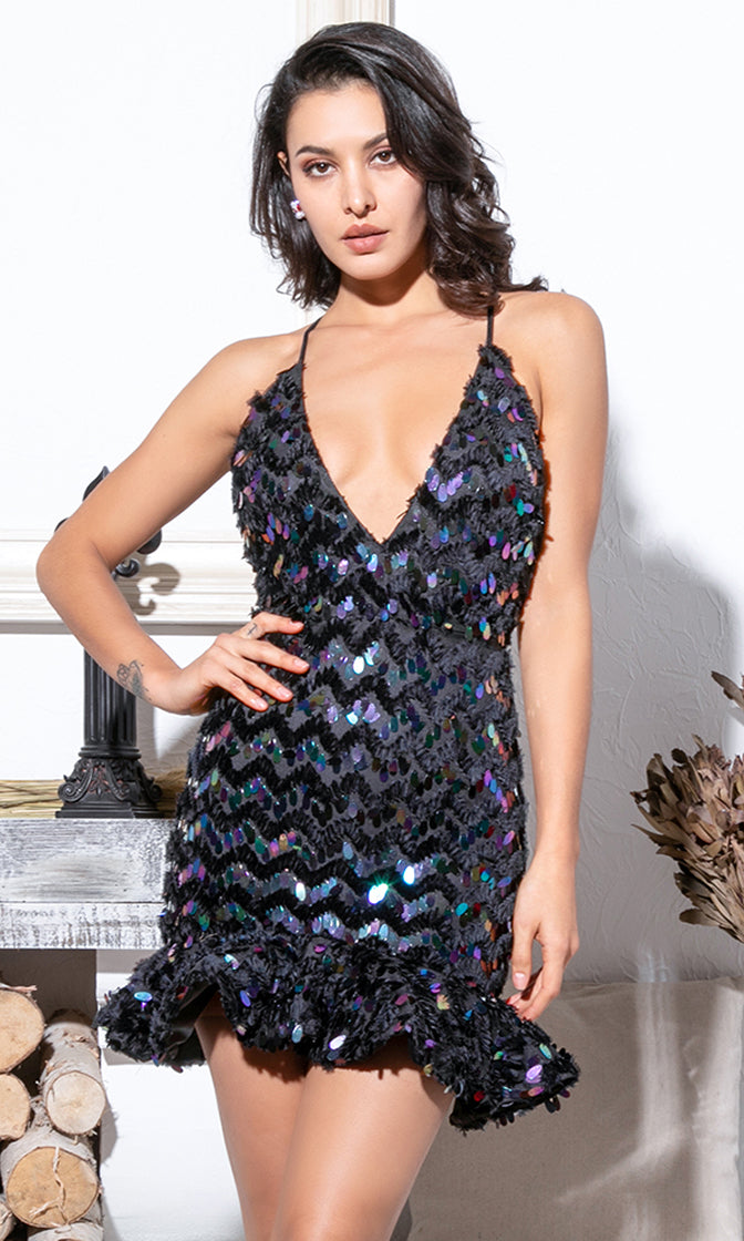 Boyfriend Wanted Black Iridescent Sequin Sleeveless Spaghetti Strap Plunge V Neck Backless Ruffle Bodycon Mini Dress