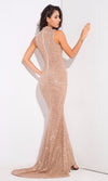 Make An Entrance Champagne Glitter Floral Pattern Sleeveless Mock Neck Maxi Dress