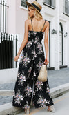 See You In The Hamptons Floral Pattern Sleeveless Spaghetti Strap Split Wide Leg Jumpsuit - Sold Out