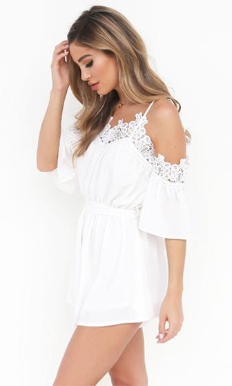 Take Me All The Way Sleeveless Spaghetti Strap Lace Off The Shoulder Tie Waist Short Romper Playsuit - 2 Colors Available