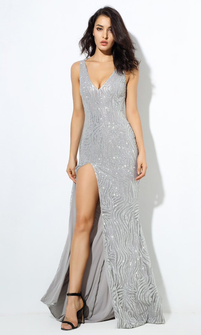 High Point Silver Glitter Geometric Pattern Sleeveless V Neck Low Back Side Slit Maxi Dress