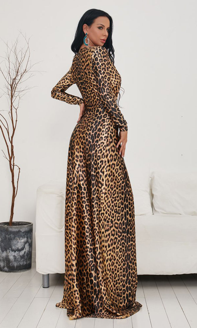 How Dare You Leopard Pattern Long Sleeve Cross Wrap V Neck Side Slit Casual Maxi Dress