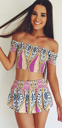 Wasting Time Beige Blue Purple White Yellow Geometric Short Sleeve Off The Shoulder Crop Top Shorts Two Piece Romper