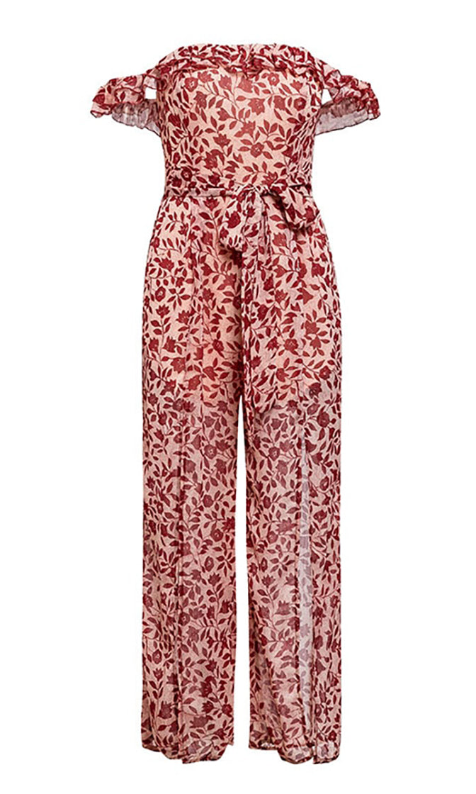 Party In Paradise White Red Floral Pattern Short Sleeve Off The Shoulder Ruffle Sweetheart Neck Loose Wide Leg Split Jumpsuit