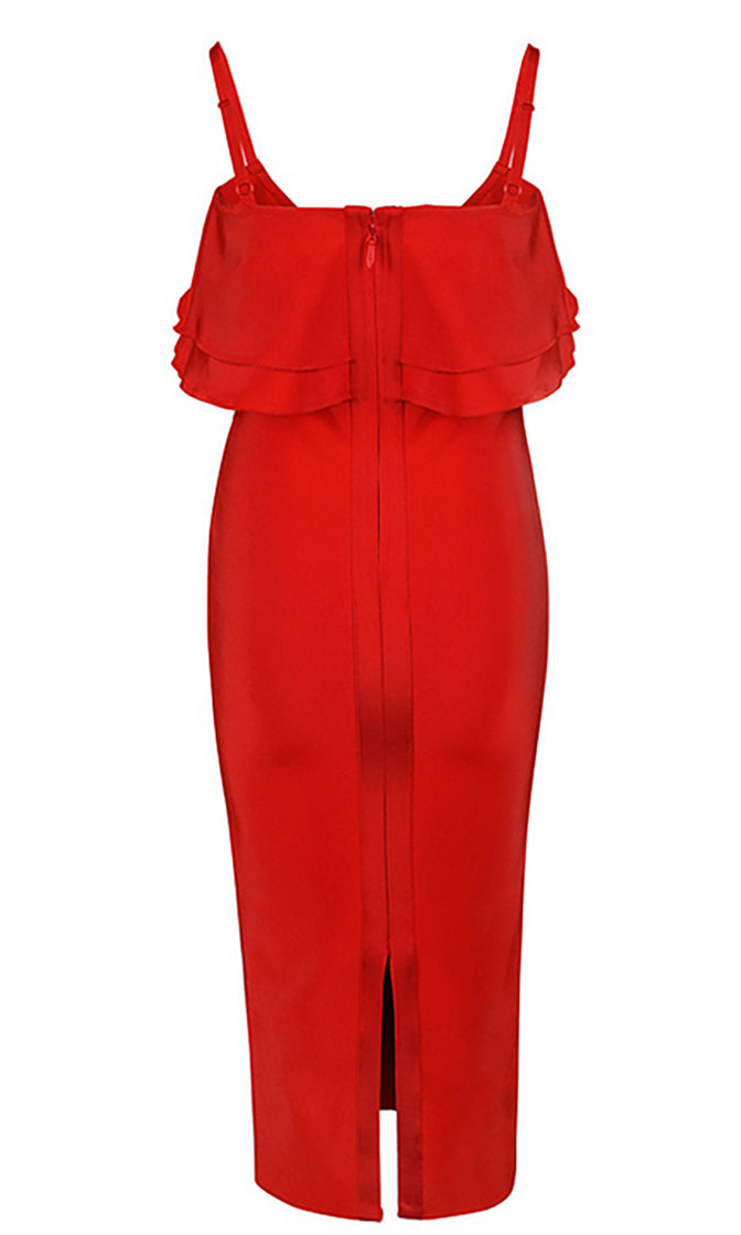 Moment Of Magic Red Sleeveless Spaghetti Strap Scoop Neck Ruffle Bodycon Bandage Midi Dress