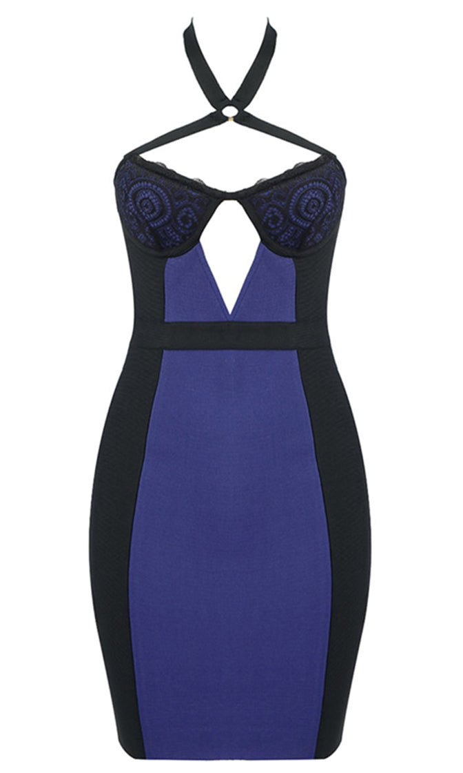 Ready To Deliver Black Navy Blue Colorblock Lace Trim Sleeveless V Neck Cut Out Halter Bodycon Bandage Mini Dress