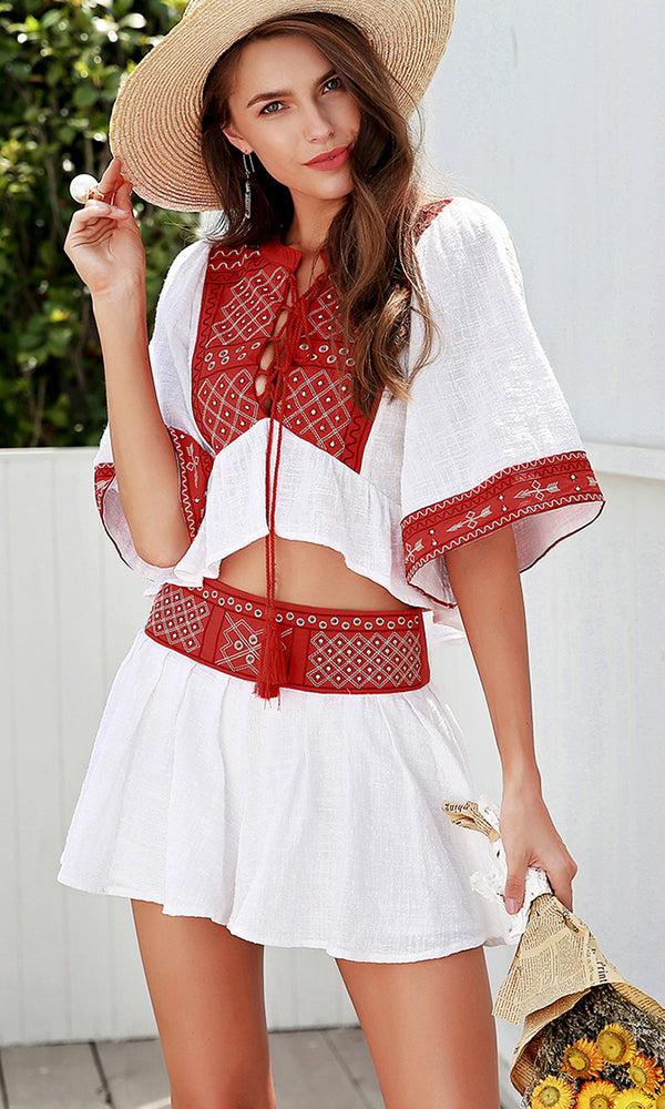 On The Riviera White Red Embroidery Elbow Sleeve Ruffle Blouse Tassel Two Piece Romper Playsuit