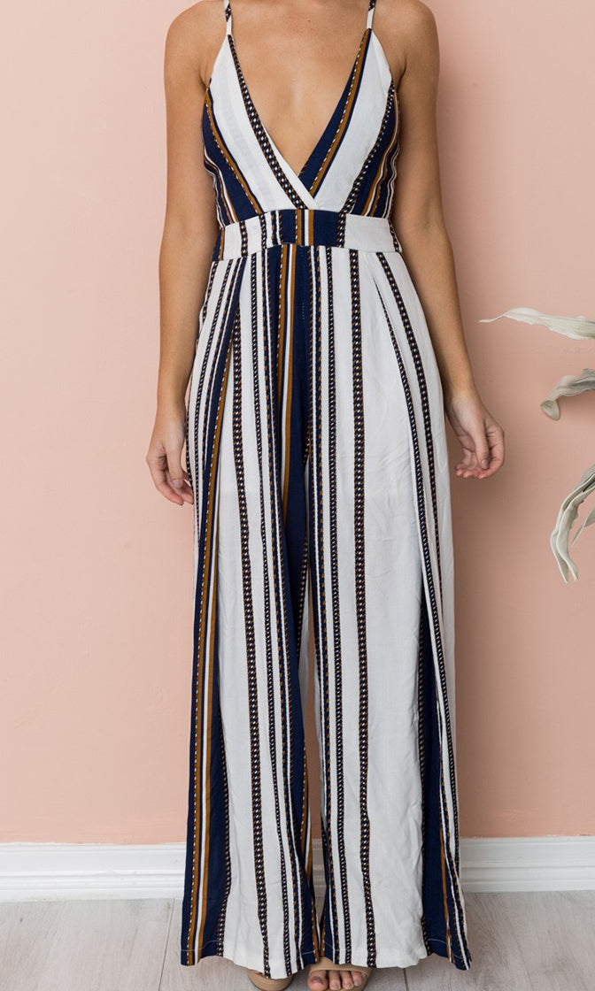 Resort Glamour White Black Vertical Stripe Pattern Sleeveless Spaghetti Strap V Neck Cut Out Back Loose Wide Leg Jumpsuit