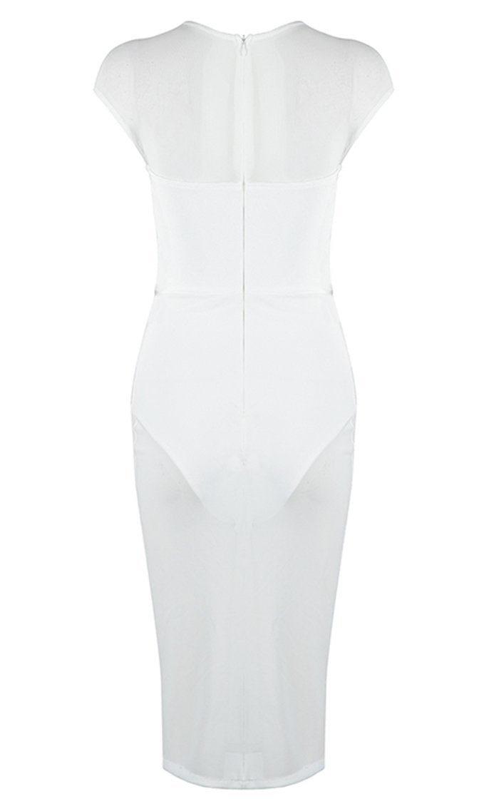 Clean Sweep White Sheer Mesh Bandage Cap Sleeve Crew Neck Cut Out Bodycon Midi Dress