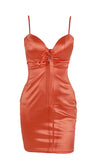 Lightning Bolt Orange Satin Sleeveless Spaghetti Strap V Neck Lace Up Bodycon Mini Dress