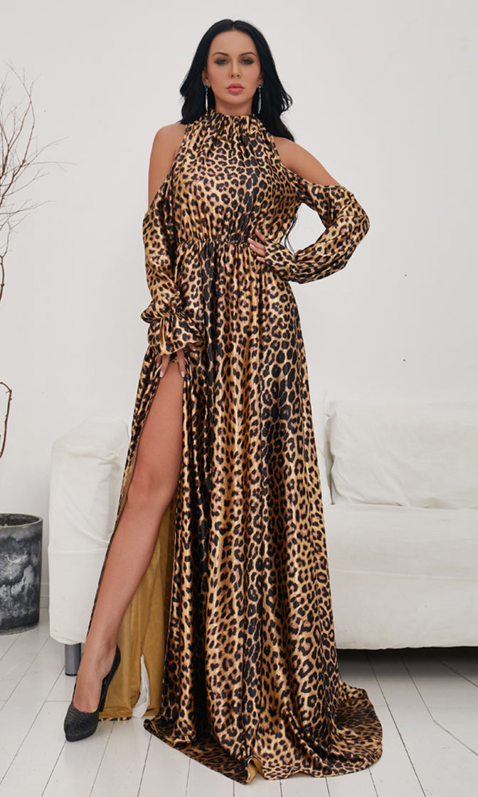 Photo Shoot Leopard Pattern Long Sleeve Cut Out Cold Shoulder Mock Neck Side Slit Satin Maxi Dress