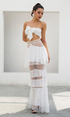 First Love Lace Swiss Dot Strapless Crop Top Tiered Ruffle Two Piece Casual Maxi Dress - 2 Colors Available