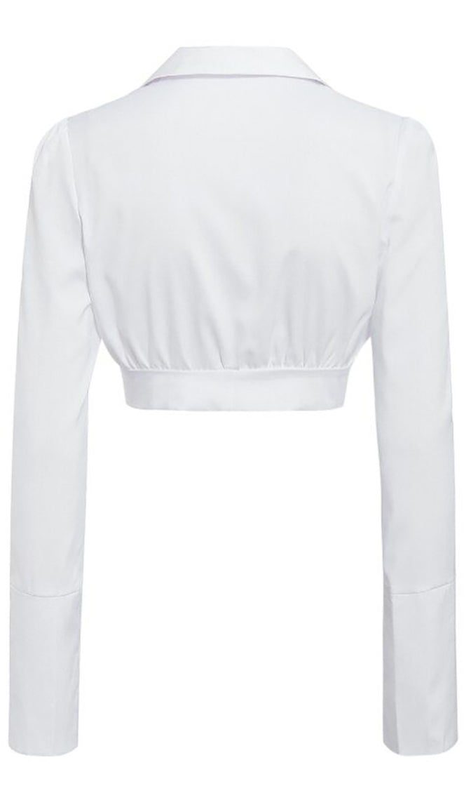 Follow Up White Long Sleeve V Neck One Button Tie Waist Crop Top Blouse