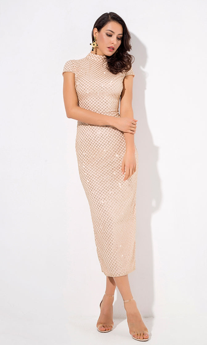 Chic Moment Gold Glitter Geometric Pattern Cap Sleeve Mock Neck Bodycon Midi Dress